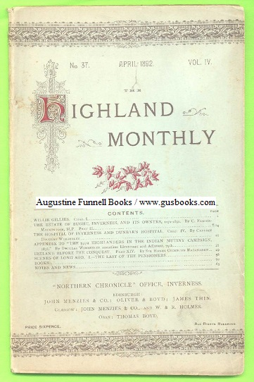 Image for THE HIGHLAND MONTHLY, April 1892, No. 37 Vol. IV