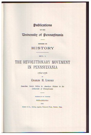 Image for The Revolutionary Movement in Pennsylvania 1760-1776
