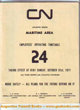 Image for CN Atlantic Region, Maritime Area, Employees' Operating Timetable 24