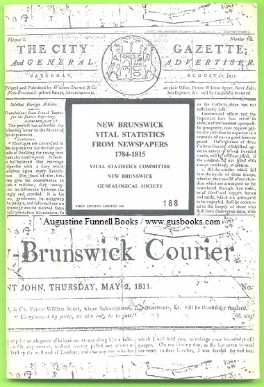 Image for New Brunswick Vital Statistics From Newspapers, 1784-1815