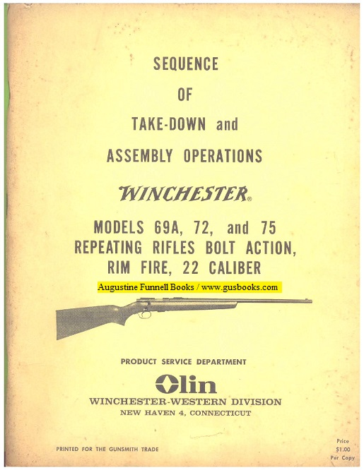 Image for Sequence of Take-Down and Assembly Operations, Winchester, Models 69A, 72, and 75 Repeating Rifles Bolt Action, Rim Fire, 22 Caliber