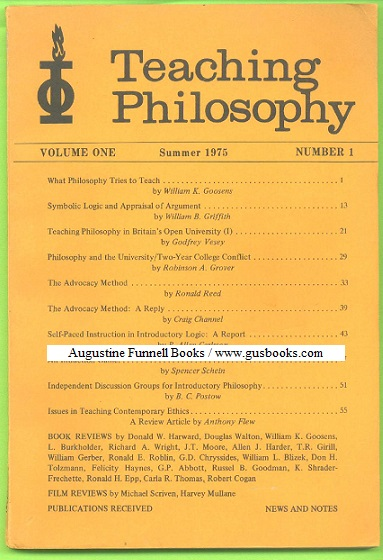 Image for TEACHING PHILOSOPHY, Volume One/Vol. 1, Number 1/#1, Summer 1975/'75