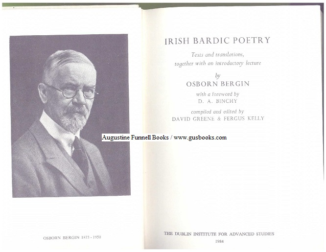 Image for IRISH BARDIC POETRY, Texts and translations, together with an introductory lecture